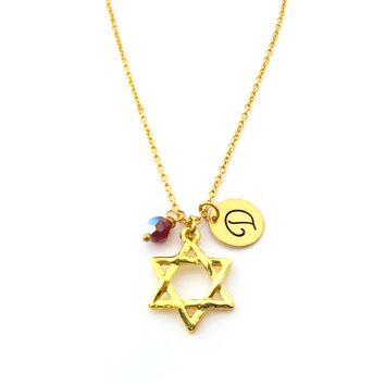 Star of David Charm Necklace - Star of David Necklace - Family Tree - Swarovski Birthstone / Initial - Personalized Gold Necklace