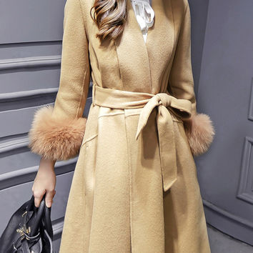 Camel Long Sleeve Tie-Waist High Low Pockets Coat