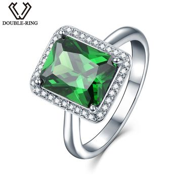 DOUBLE-R Female Luxury Created Emerald Ring 925 Sterling Silver Vintage Wedding Rings for Women Fine Jewelry Birthday Gifts