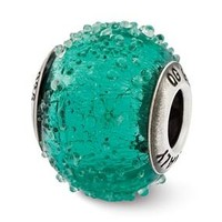 Sterling Silver Italian Teal Textured Glass Bead