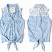 Lace Vest Sleeveless Shirt with Tie Front from Cool   Style