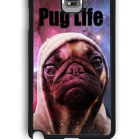 Samsung Galaxy Note 4 Case - Rubber (TPU) Cover with Funny Pug Life On Galaxy Design