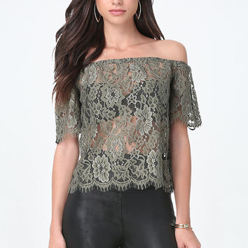 Sheer Lace Off Shoulder Top | bebe