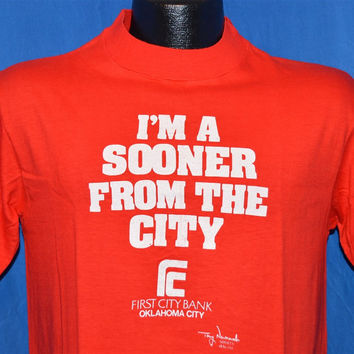 """70s """"I'm a Sooner from the City"""" First City Bank Oklahoma City OU College Sports t-shirt Medium"""