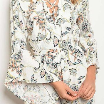 Women's Lace Up Detail Bell Sleeve Paisley Print Romper
