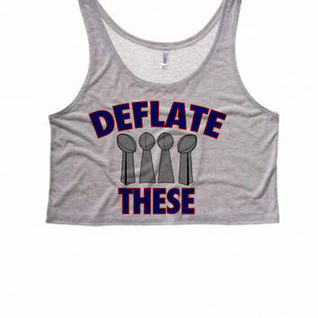 Deflate These NFL Women's Boxy Crop Top | New England Patriots Tank Tops Womens Patriots T Shirt | Patriots Tanks and Tops | Deflategate Top