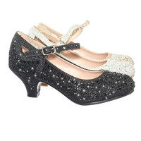 Jemma02 Children Girl Rhinestone Crystal Glitter Pump For Wedding & Parties