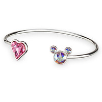 Mickey Mouse Icon Heart Cuff Bracelet - Clear/Pink | Disney Store