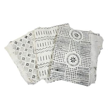 Authentic Mud Cloth Bambara Fabric - White and Black