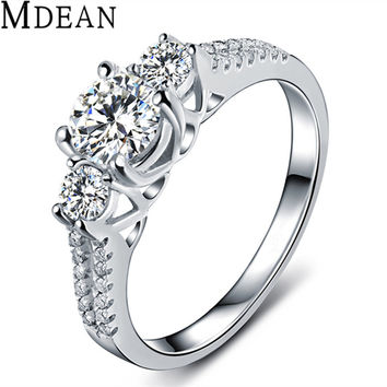 MDEAN Wedding Rings For Women platinum plated Jewelry Engagement Vintage Ring bague zirconia fashion bijoux Accessories MSR011