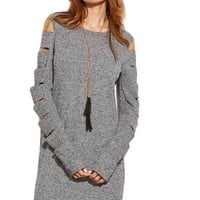 Women Business Casual Clothing Fashion Dress for Women Clothing Grey Marled Ribbed Knit Ladder Cutout Sleeve Dress