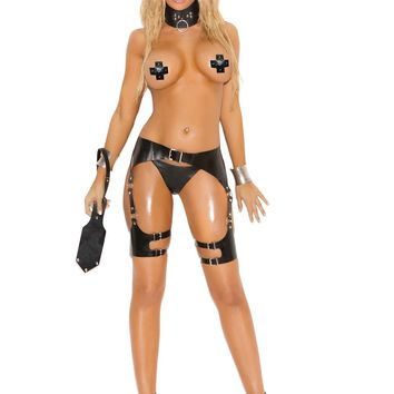 Leather waist to thigh harness with O rings and adjustable  buckle closures *Available Boxed Black