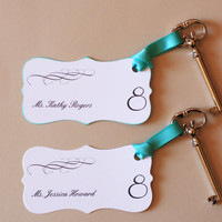 Wedding Escort Cards - Old Vintage Skeleton Key Table Placecards with Ribbon (Set of 10)