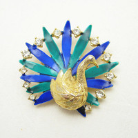 Rhinestone Peacock Brooch Vintage Bird Jewelry P6707