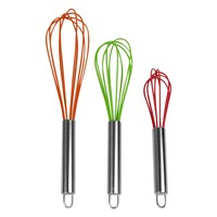 Evelots Wired Silicone Whisk Set Of 3, Stainless Steel Mixing Kitchen Utensils