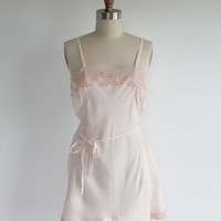 Vintage 20s Pale Pink Silk & Lace Negligee Romper | xs small