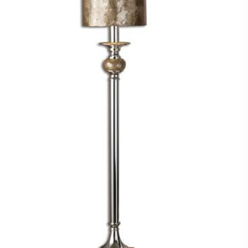 Buffet Table Lamp - Silver Plated Metal Base With Mother Of Pearl Accents