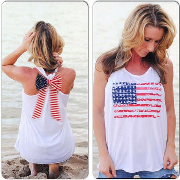 White American Flag Print Sleeveless T-Shirt with Bow