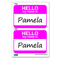 Pamela Hello My Name Is - Sheet of 2 Stickers