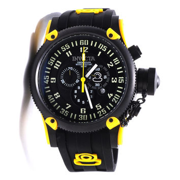 Invicta 10181 Men's Russian Diver Yellow Accents Black Dial Silicon Rubber Strap Chronograph Watch