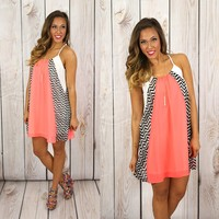 Slip Into Chevron Dress in Neon Coral