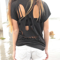 Black Skull Back Cut-Out Tee - Black Skull Back Cut-Out Tee