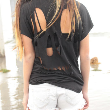 Black Skull Back Cut-Out Tee