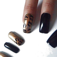 black cheetah false nails animal print gold fake nail square kitsch rockabilly night sexy hot fashion chic acrylic nails lasoffittadiste