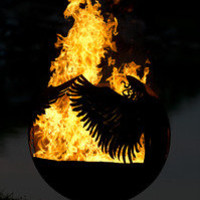 Hidden - Angel Themed Outdoor Fire Pit - Sculptural Sphere Fire Ball