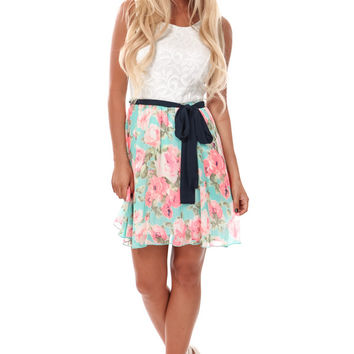Mint Floral Dress with Sleeveless Lace Top