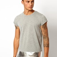ASOS T-Shirt With Metallic Hem at asos.com