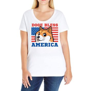 doge bless america Ladies Curvy T-Shirt