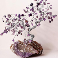 Amethyst on Amethyst Cluster Healing Bonsai GEM TREE // Tree of Life Sculpture // Yoga Zen Home Decor, Gifts, Chakra Aura Cleansing