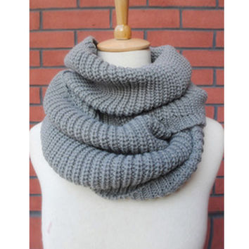 High Quality FreeShipping Hot Women Lady Winter Warm Infinity 2 Circle Cable Knit Cowl Neck Long Scarf Shawl For Women Q1