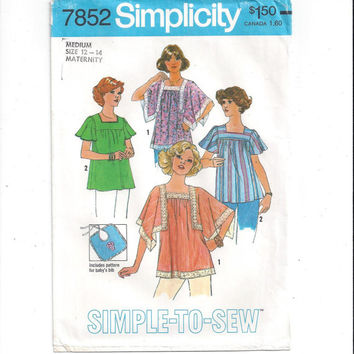 Simplicity 7852 Pattern for Misses' Maternity Tops, Bib, Size 12, 14, From 1977, FACTORY FOLDED, UNCUT, Vintage Pattern, Home Sew Pattern