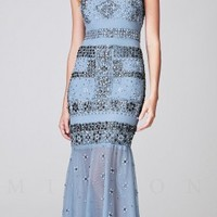 Beaded Spaghetti Strap Mermaid Long Evening Dresses by Mignon