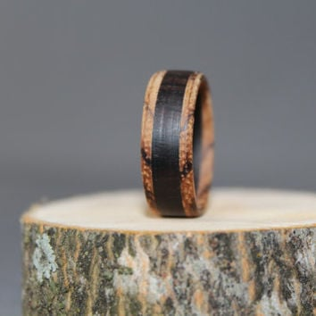 African Blackwood bordered with Zebra Wood Ring