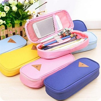 High Quality Candy Color Simple Zipper Make up Bag Pen Holders Durable Stationery Make-up Bag