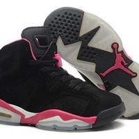Hot Nike Air Jordan 6 Suede Women Shoes Black Pink