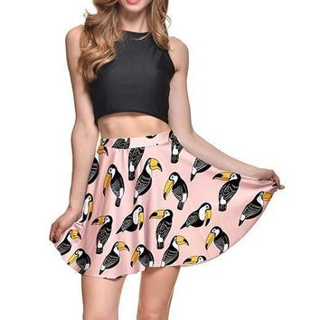 Toucan All Over Print Circle Skirt with Elastic Waist in Pink