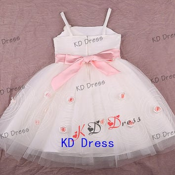 20% OFF Straps Ivory Tulle Cute Flower Girl Dress Toddler Birthday Party Dress with Pink Sash/Flower/Bow