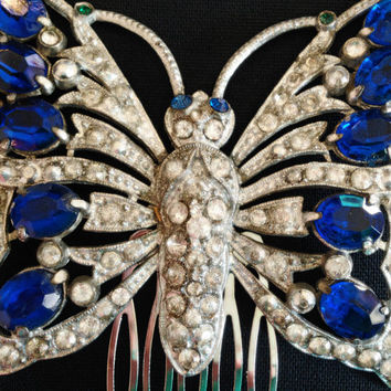 HUGE 1920s Vintage Sapphire Blue Butterfly Bridal Hair Comb