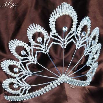 "Awesome Beauty Pageant Tiara 5.5"" Headband Pearl Clear Crystal Crown Wedding Bridal Party Costumes Fashion Hair Jewelry"