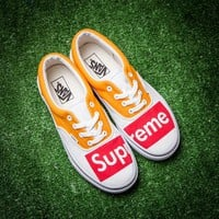 Vans Old Skool X Supreme Canvas Shoes Yellow - Best Deal Online