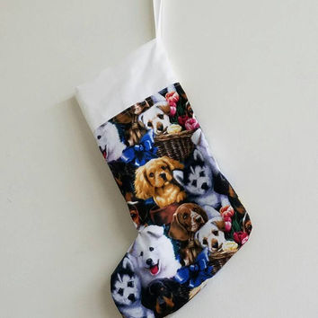 Dog - puppy - rescue - adopt - husky - rottie - Labrador - holiday - decor -  Christmas - stocking