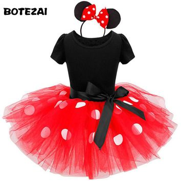 2017 Summer Kids Gift Cartoon Minnie Party Dress Fancy Costume Cosplay Girls Minnie Dress+Headband 9M-6Y Infant Baby Clothes Red