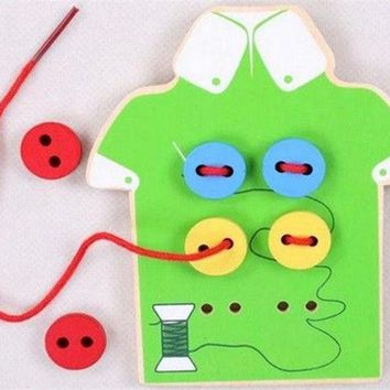 DCCKL72 Educational Kids Toys Beads Lacing Board Wooden Toys Toddler Sew On Buttons Early Education Teaching Aids Puzzles