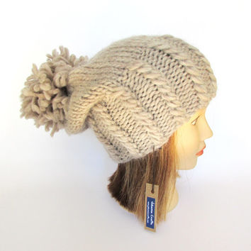 Big pompom slouch hat - warm winter hat - slouchy beanie - light beige knitted hat - Irish knit pure wool hat - chunky knit hat huge pom pom