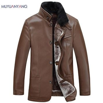Winter Overcoat Warm Men's Leather Coat Men Faux Fur Collar Motorcycle Leather Jackets For Male Snow Jackets Coats