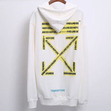OFF-WHITE autumn and winter tide brand yellow cordon men and women hooded sweater White